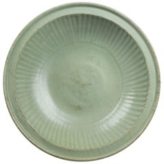 Ancient Green Glazed Ceramic Dish, Ming Dynasty China