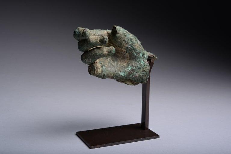 Classical Roman Ancient Hellenistic, Roman Bronze Statue Fragment, 100 BC For Sale