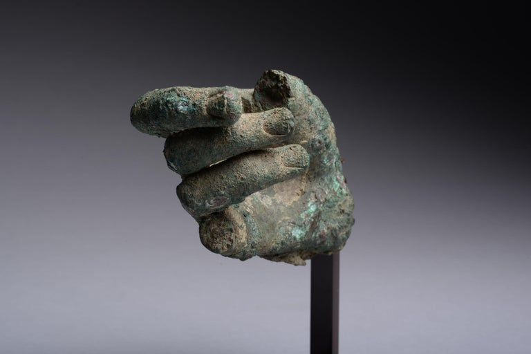Ancient Hellenistic, Roman Bronze Statue Fragment, 100 BC In Excellent Condition For Sale In London, GB