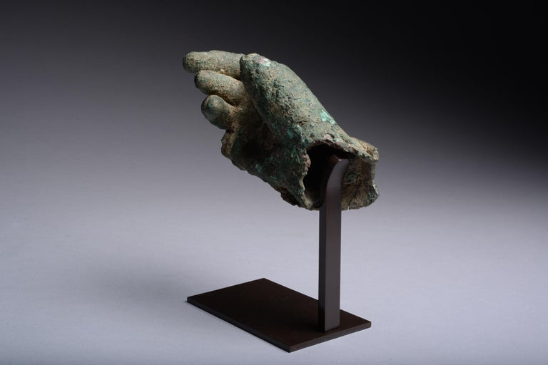 18th Century and Earlier Ancient Hellenistic, Roman Bronze Statue Fragment, 100 BC For Sale