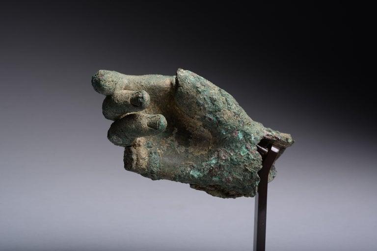 Ancient Hellenistic, Roman Bronze Statue Fragment, 100 BC For Sale 1