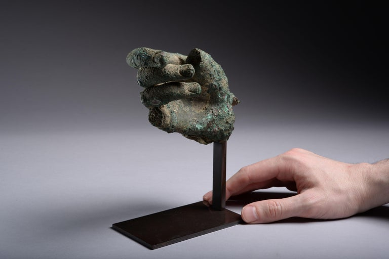 Ancient Hellenistic, Roman Bronze Statue Fragment, 100 BC For Sale 4