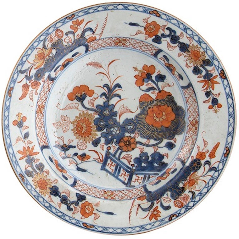 Chinese Ancient Imari Style Porcelain Dishes, Qing Dynasty China For Sale