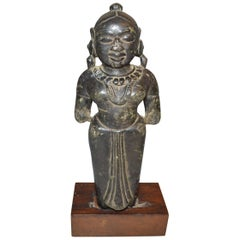 Ancient Indian Stone Hindu Female Goddess Figure, circa 16th Century