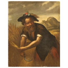 Ancient Italian Character Painting from the 18th Century