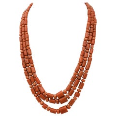 Ancient Italian Coral, Silver Multi-Strands Necklace