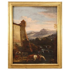 Ancient Italian Landscape Painting from the 17th Century