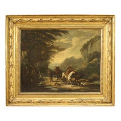 Ancient Italian Landscape Painting from the 18th Century