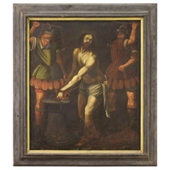 Ancient Italian Painting Flagellation of Jesus from the 17th Century