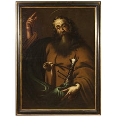 Ancient Italian Painting of Saint Paul from the 17th Century