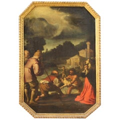 Ancient Italian Religious Oil Painting on Canvas of the 17th Century