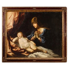 Ancient Italian Religious Painting Madonna with Child from the 17th Century