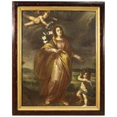 Ancient Italian Religious Painting Santa Liberata with Cherubs, 17th Century