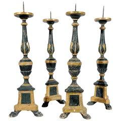 Ancient Italian Tall Wooden Candlesticks, Set of Four