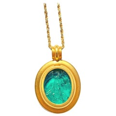 Ancient Jewelry Ancient Egyptian Era Blue Glass Carving and 14K Gold Pendant