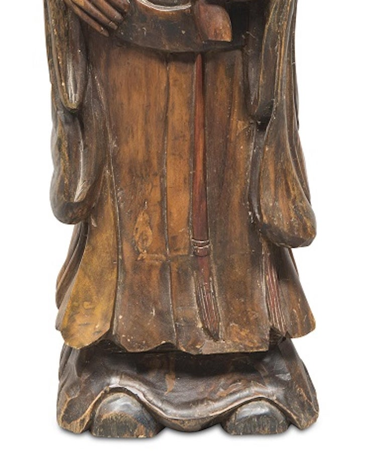 Chinese Ancient Lao Fuxing Wood Sculpture, China, Late 19th Century For Sale