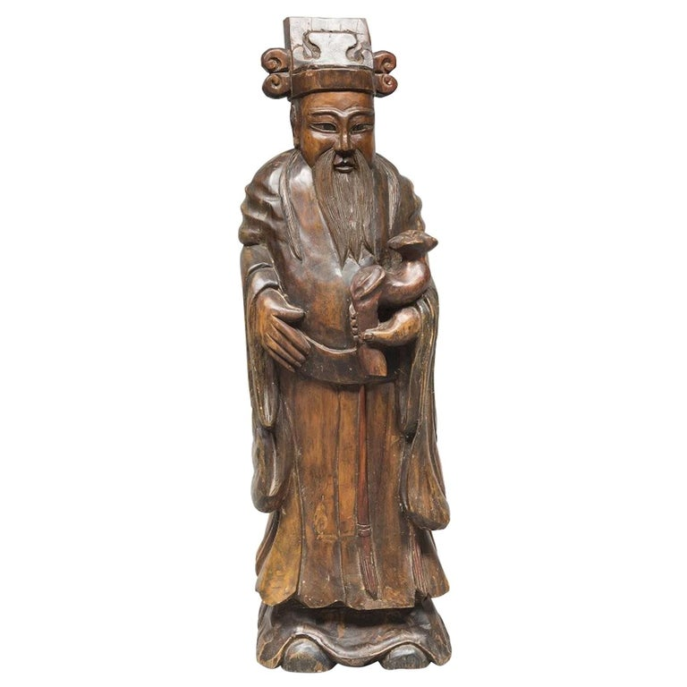 Ancient Lao Fuxing Wood Sculpture, China, Late 19th Century For Sale