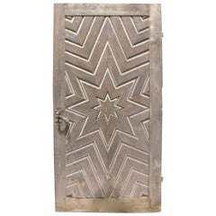 Ancient Larch Door Carved with a Star, 19th Century, Italy