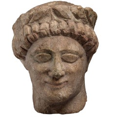 Ancient Limestone Head of a Worshipper from Cyprus, 5th Century BC