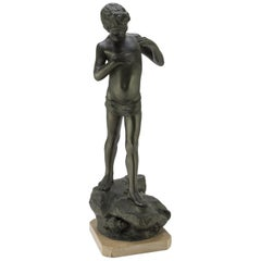 Ancient Little Fisherman Burnished Metal with Travertine Base, End of 1800