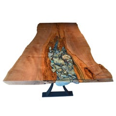 Ancient Live Edge Wooden Dining Table with Unique Rock and Crystal Detail