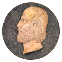 Ancient Marble Bas-Relief with Portrait of Giuseppe Garibaldi, Late 19th Century