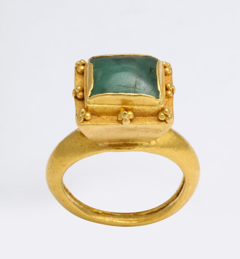 Emerald Cut Ancient Medieval Gold Emerald Ring For Sale