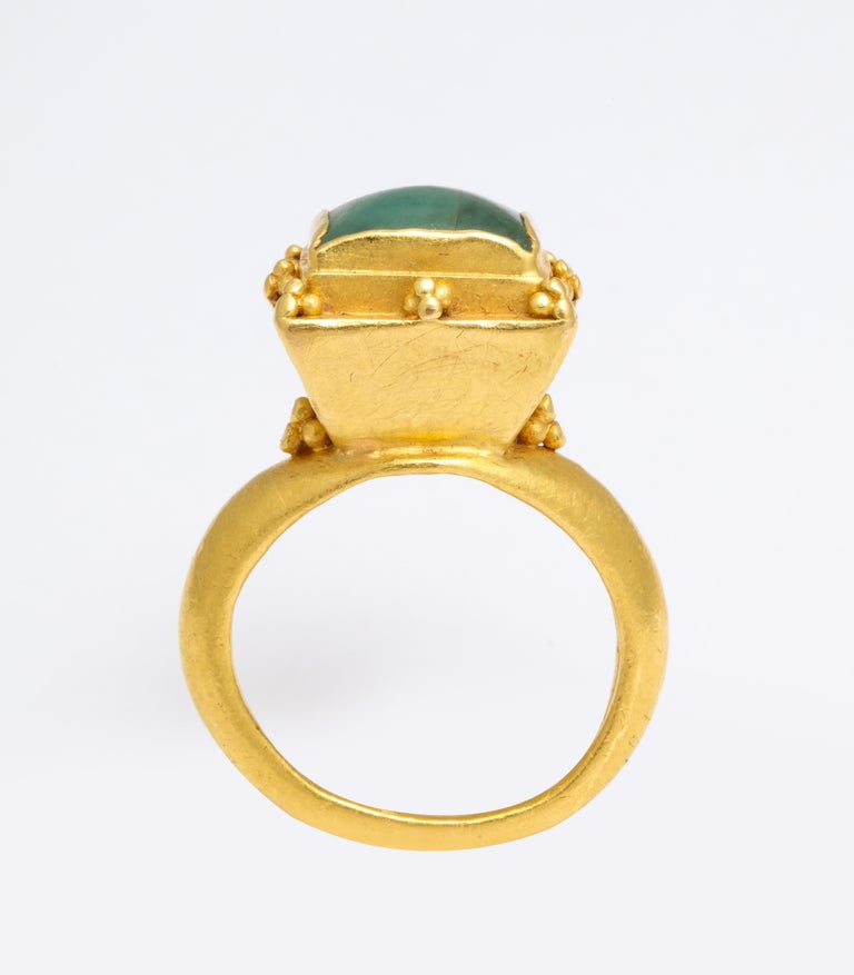 Women's or Men's Ancient Medieval Gold Emerald Ring For Sale