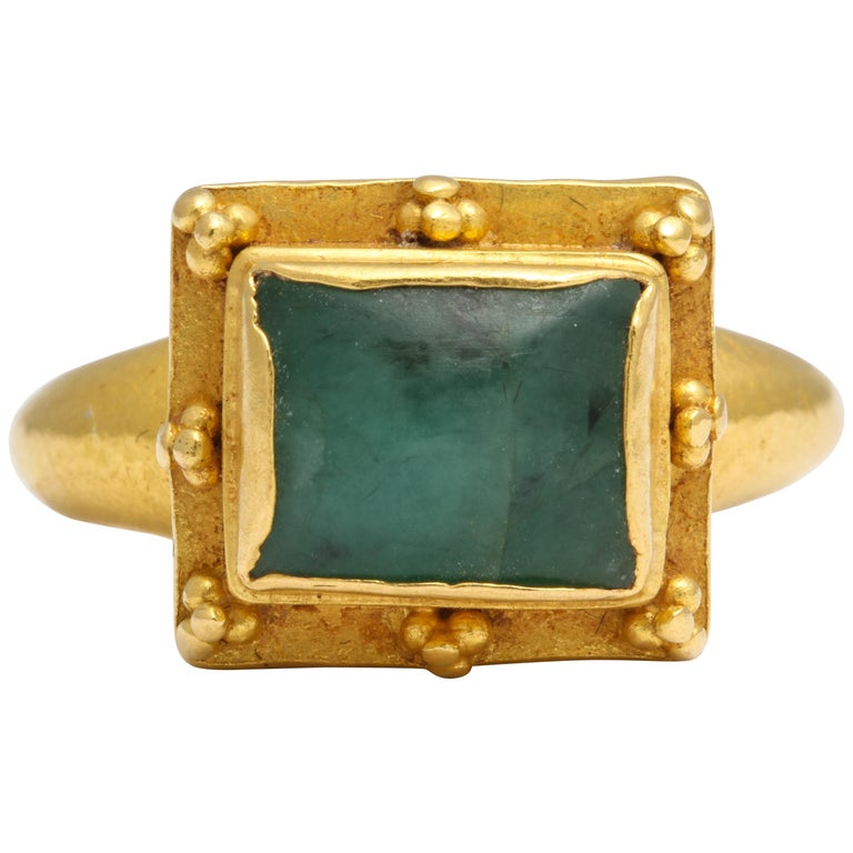 Ancient Medieval Gold Emerald Ring For Sale