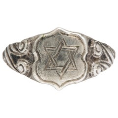 Ancient Medieval Silver Judaica Ring with Star of David
