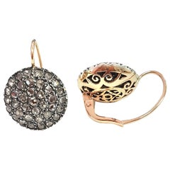 Ancient Method Pavé-Set Diamond Earrings in Silver and Rose Gold