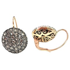 Ancient Method Pavé Set Diamond Earrings in Silver and Rose Gold