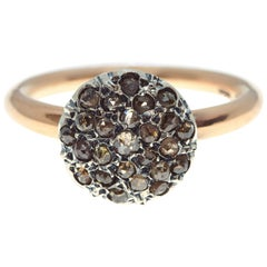 Ancient Method Round Pavé Set Diamond Ring in Silver and Gold