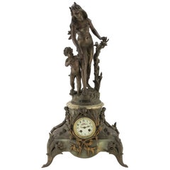 Ancient Onyx and Antimony Clock, France, Late 19th Century
