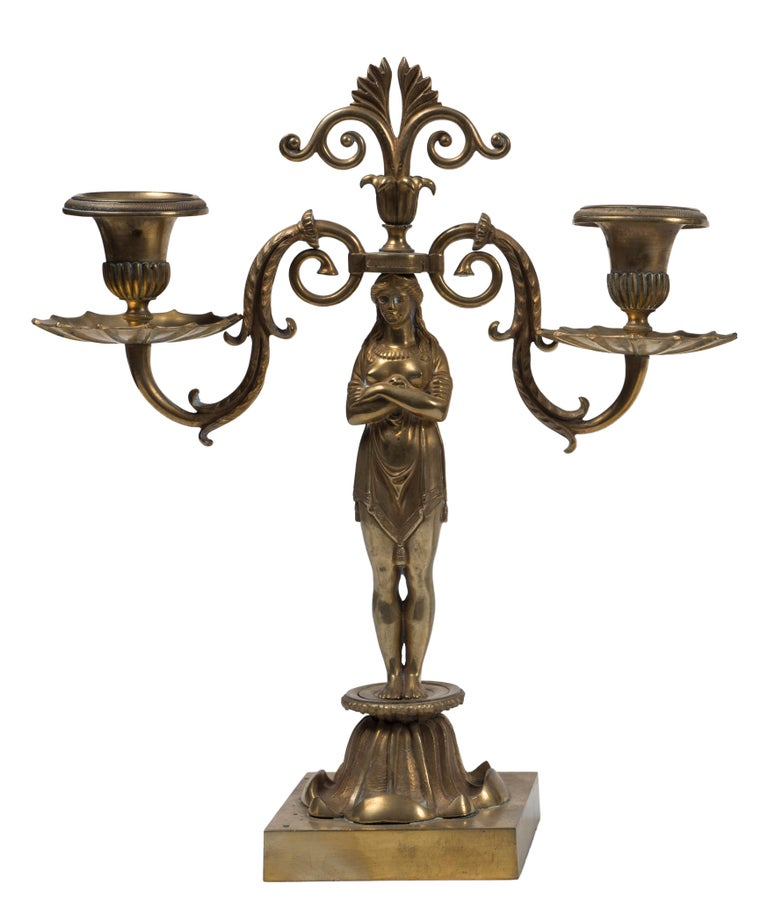 Ancient Pair of Candleholder, French Manufacture 19th Century In Good Condition For Sale In Roma, IT