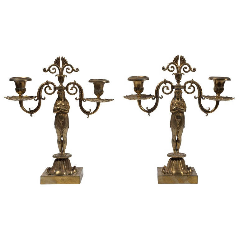 Ancient Pair of Candleholder, French Manufacture 19th Century For Sale