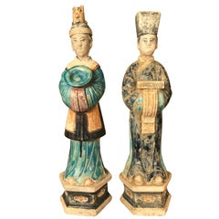 Ancient Pair of China Ming Cobalt Blue Tomb Treasure Sculptures, 1368-1644