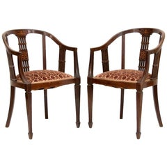 Ancient Pair of Mahogany Armchairs, United Kingdom, Late 19th Century