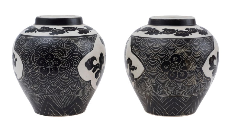 Porcelain Ancient Pair of Oriental Vases, China, Late 19th Century For Sale