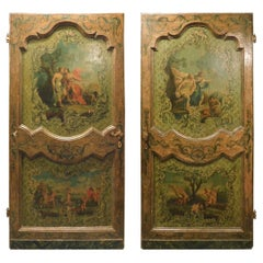 Ancient Pair of Painted Doors, Mythological Scenes, Richly, Italy, Late 1600