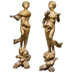 Ancient Pair of Sculptures in Gilded Wood, Italy, 17th Century