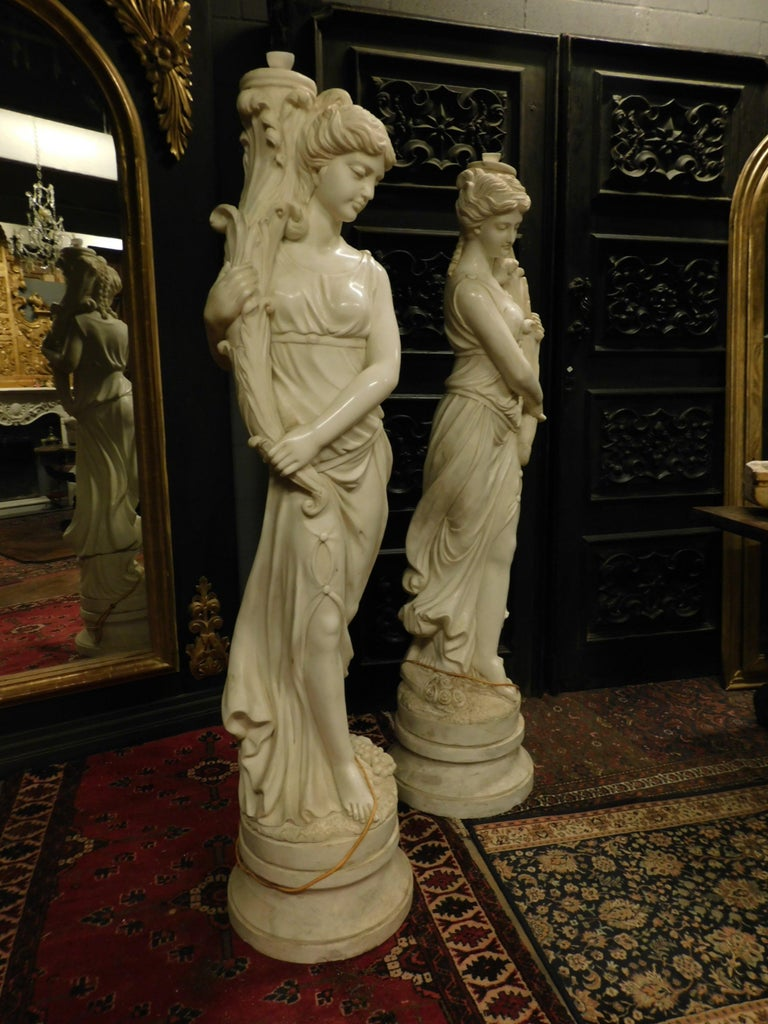 Italian Ancient Pair of Statues (Fountains) White Marble, Water Muses, 1900 Italy For Sale