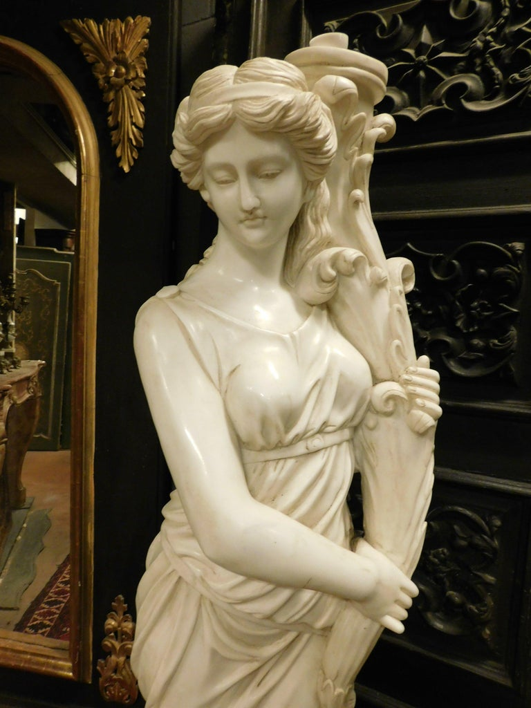 Hand-Carved Ancient Pair of Statues (Fountains) White Marble, Water Muses, 1900 Italy For Sale