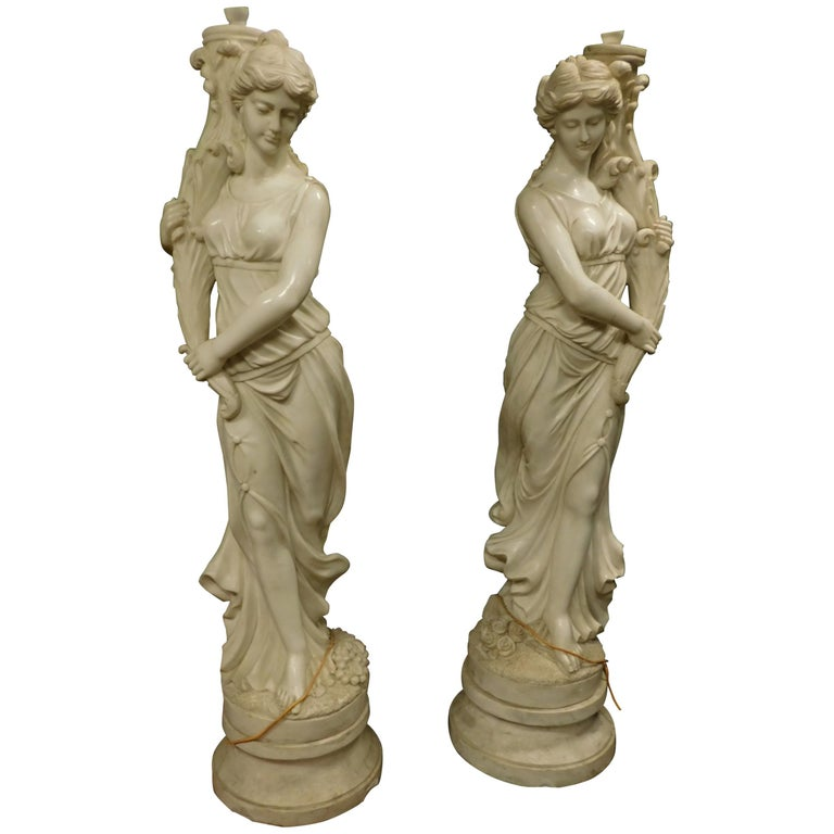 Ancient Pair of Statues (Fountains) White Marble, Water Muses, 1900 Italy For Sale