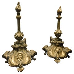 Ancient Pair of Wings in Gilded Bronze, Richly Decorated Female Face, '700 Italy