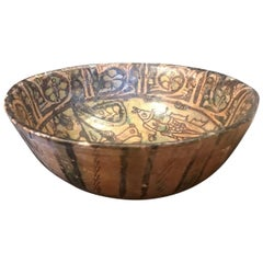 Ancient Persian Rare Kashan Bowl, 13th Century Islamic Pottery Art