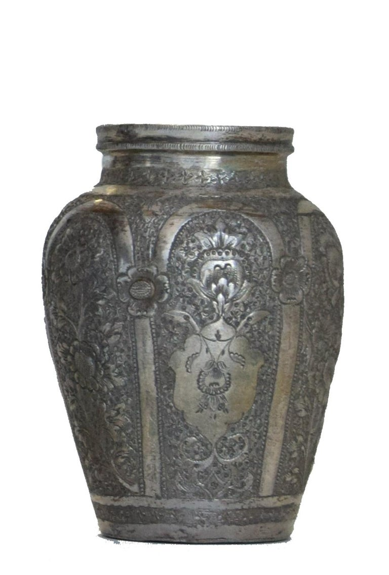 Ancient Persian Silver Chalice and Vases, End of 19th Century For Sale 2