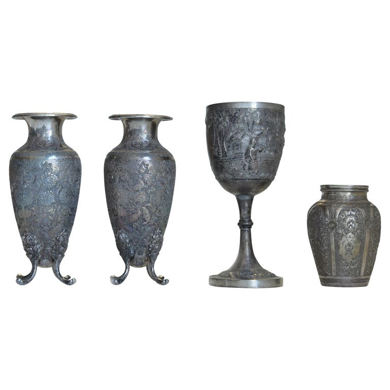 Ancient Persian Silver Chalice and Vases, End of 19th Century For Sale