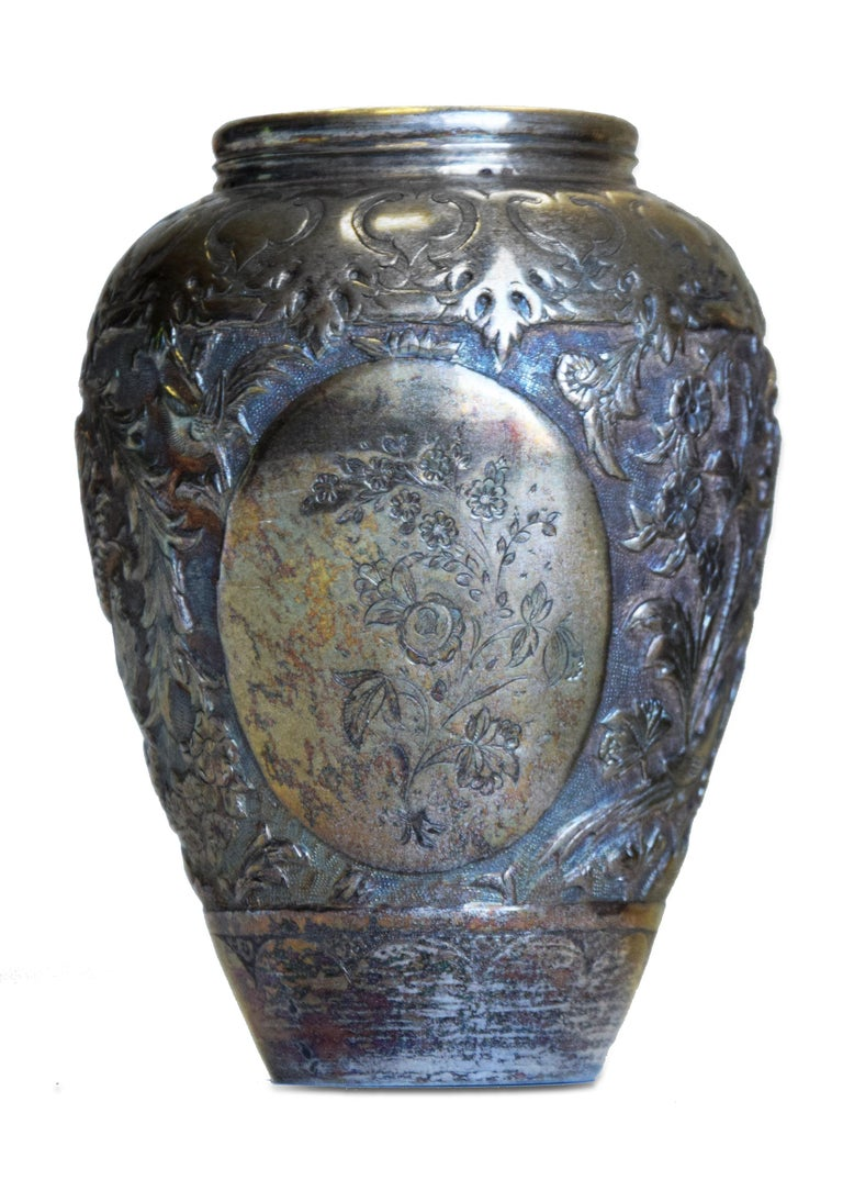 Ancient Persian Silver Salve Vases, 19th Century For Sale 1
