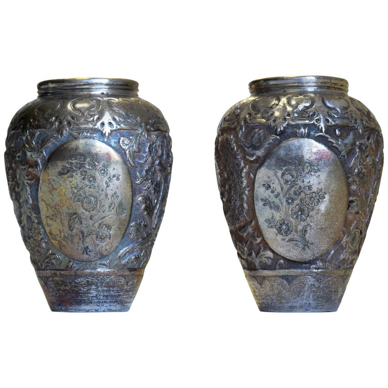 Ancient Persian Silver Salve Vases, 19th Century For Sale